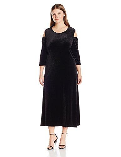 Joan Vass Women's Plus Size Maxi Velvet Dress, Black, 2X