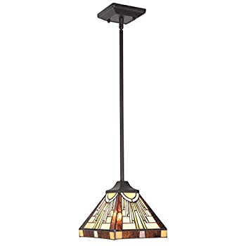 BONLICHT One Light Mini Pendant Classic Hanging Light Fixtures Ceiling Lamp Vintage Tiffany Style Mission Pendant Lighting with 8 inch Stained Glass Shade, Vintage Bronze Finish UL Listed