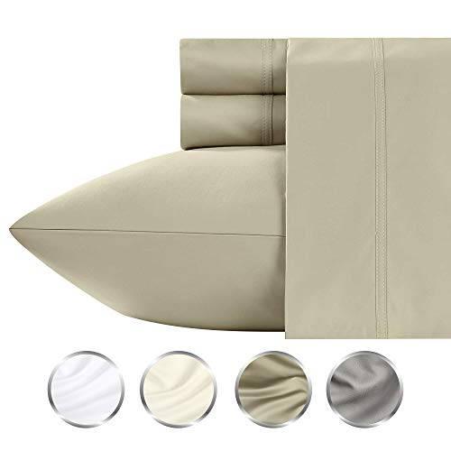 1000-Thread-Count Luxury Cotton Bed Sheets, 4-Piece California King Size Taupe Sheet Set, Single Ply Yarns, Sateen Weave Fits Mattress Upto 20 inch Deep Pocket