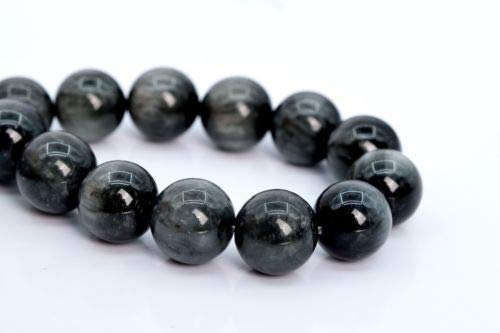 7mm Genuine Natural Deep Gray Chrysoberyl Cat Eye Beads Round Loose Beads 7'' Crafting Key Chain Bracelet Necklace Jewelry Accessories Pendants 7' Cable Chain Bracelet
