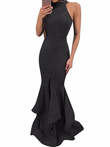 BEAGIMEG Women's Sleeveless High Neck Split Maxi Mermaid Evening Dress Black