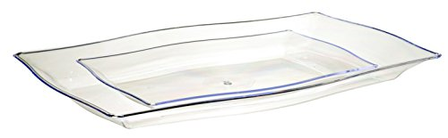 Premium Quality Heavyweight Clear Hard Plastic Serving Trays | Value Pack 6 Piece Set - 3 Trays - 12.5