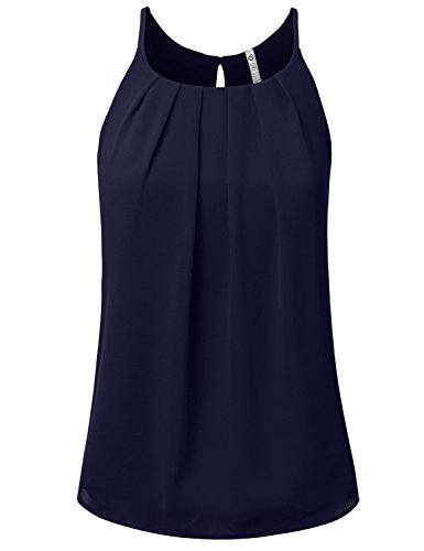 Bright Sleeveless Tee Tops - NINEXIS Womens Sleeveless Front Pleated Back Keyhole Chiffon Tank Top Navy S