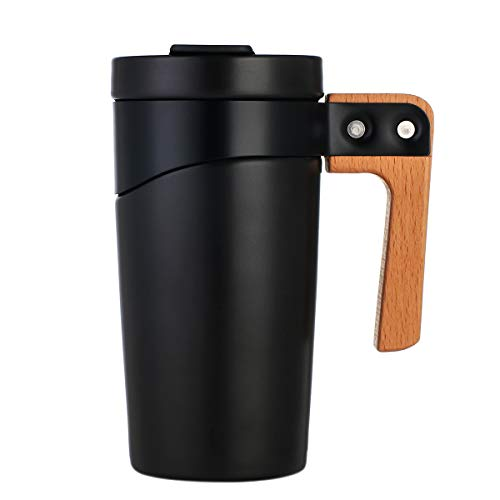 Ceramic Coffee Mug, BPA-Free Travel Mug with Lid and Handle, 16 oz. Black ()