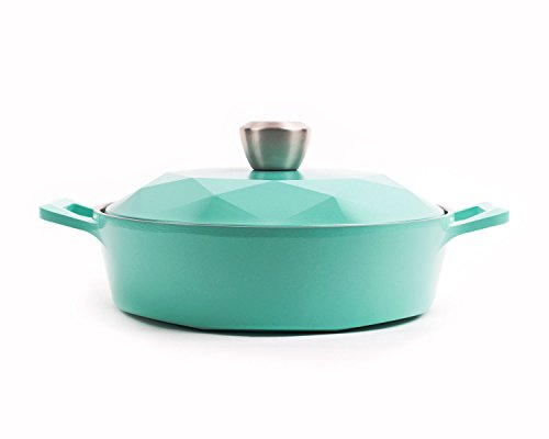 Neoflam Carat 2QT Ceramic Nonstick Low Stockpot, Fresh Green