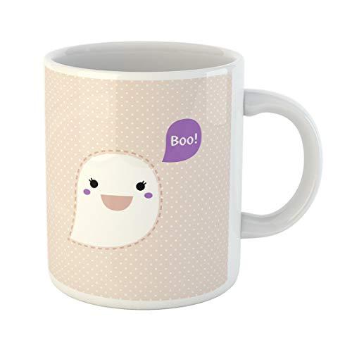 Semtomn Funny Coffee Mug Anime Cute Kawaii Ghost Dotted Retro Boo Clipart Adorable Animal 11 Oz Ceramic Coffee Mugs Tea Cup Best Gift Or -