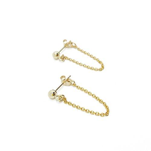 PINJEAS Gold Plated Chain Loop Studs Dangle Bridesmaids Earrings Minimalist Posts Tiny Earrings Edgy Chain mother's day - Earrings Post Chain