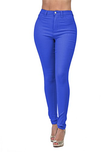 LOVER BRAND FASHION High Waisted-Rise Ladies Colored Denim Stretch Skinny Colored Ripped Distressed Pants Jeans for Women, Blue, ()