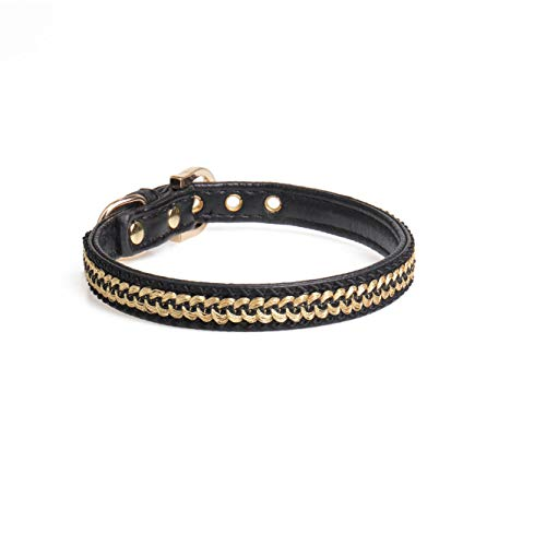- HolaStar Cute Lether Dog Collar and Cat Collar with Gold Textile Pattern Metal Star, Soft Padded Leather Pet Collar for Small Cats Puppy and Dogs