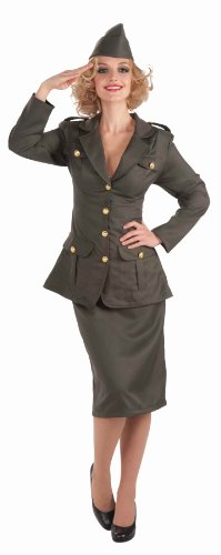 Forum Novelties Women's WWII Army Gal Costume, Green, Standard (Army Ladies Costume)