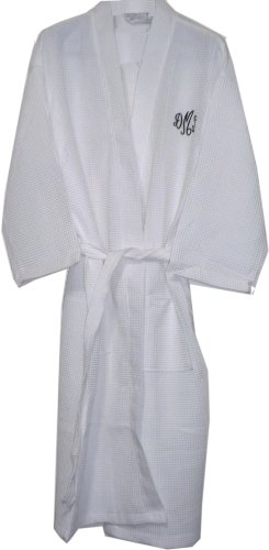 White Long Cotton Waffle Bathrobes Monogrammed Bridesmaid Robes