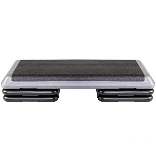 The Step Original Aerobic Platform for Total Body Fitness - Health Club Size with Grey Platform and 4 Original Black Risers (Renewed)