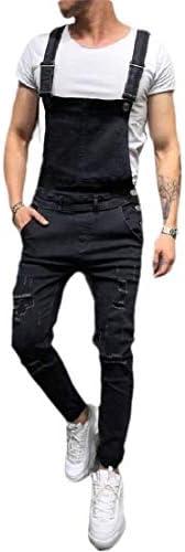 [해외]Smeiling Men Fashion Washed Ankle Length Pocket Holes Ripped Jumpsuits Overalls / Smeiling Men Fashion Washed Ankle Length Pocket Holes Ripped Jumpsuits Overalls 2 XL