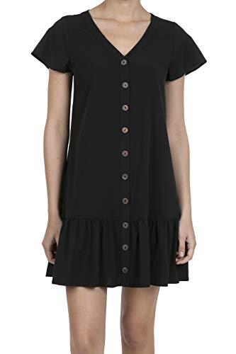 iliad USA 8063 Women's Short Sleeve V-Neck Ruffle Hem Button Design Tunic Dress Black M