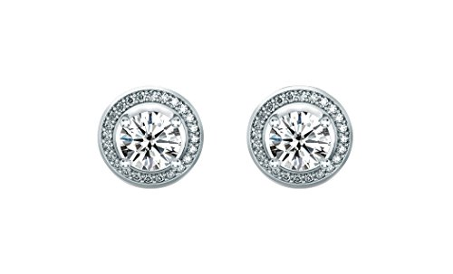 Women 6mm Round Cubic Zirconia Halo Stud Earrings