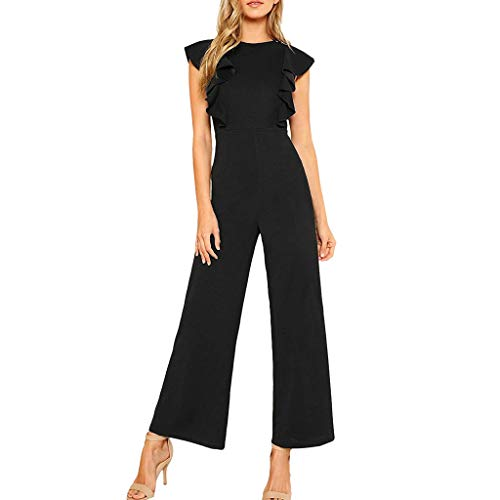 RIUDA Women's Sexy Casual Sleeveless Ruffle Trim Chiffon Wide Leg High Waist Long Jumpsuit Black