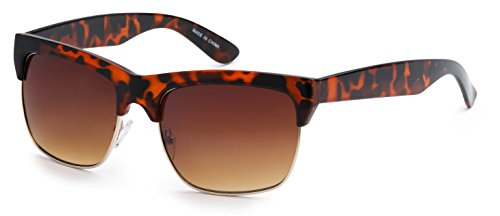 Eason Eyewear Men/Women's Half-Frame Aviator Fashion Sunglasses 58 mm Tiger - Frames Glasses Tiger