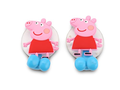 Finex - Set of 2 - Peppa Pig Toothbrush Holders with Suction Cup for wall in bathroom at home (Pig Pen Costume)