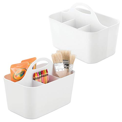 mDesign Art Supplies, Crafts, Crayons and Sewing Organizer Tote - Pack of 2, White by mDesign