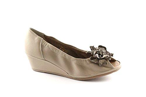 Grünland RINA SC1705 zapatos ceniza mujer decollet cuña perforada Beige