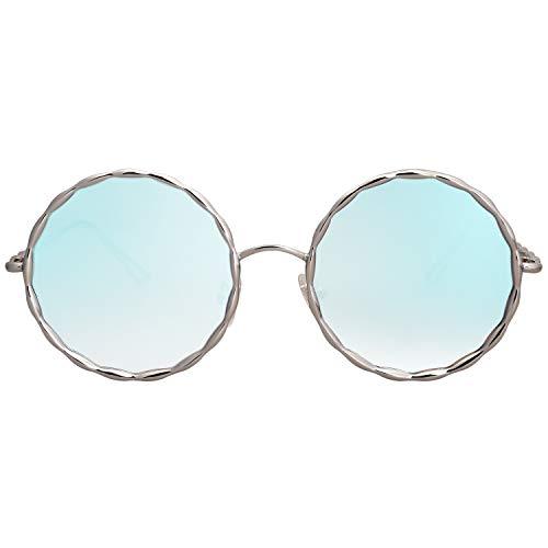 Cadre Soleil Rond Lunettes Femme C9 bleu Lentille Sojos Métal Pour Argenté Sj1090 De RwvWtE