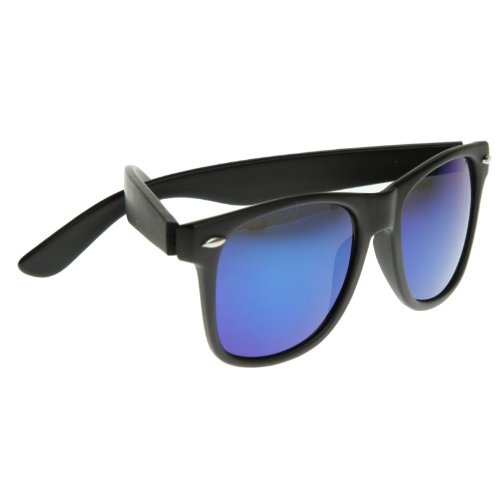 Flat Matte Reflective Revo Color Lens Large Wayfarers Style Sunglasses - UV400