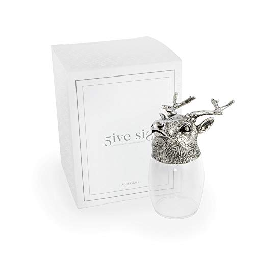 - 5ive Sis Refined Finest Pewter Whiskey Vodka Tequila Drinking Shot Glass Crystalline Head Stand Lead-free Wild Animal Style Collection WG553S (Deer)