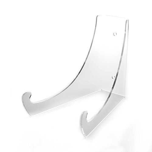 """(2) New 6"""" Large Clear Acrylic Bowl Easel Display Stands for 7"""" to 9"""" Platters and Bowls"""