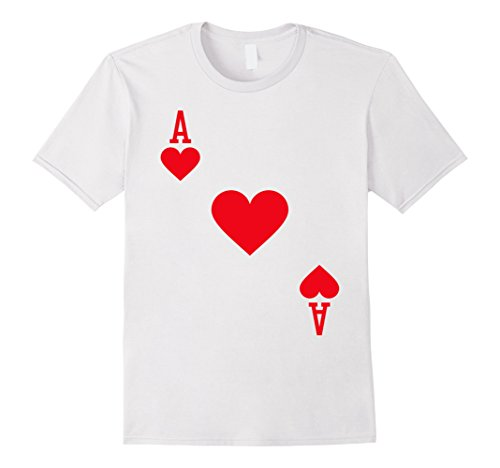 Mens Ace of Hearts Costume T-Shirt Halloween Deck of Cards XL White