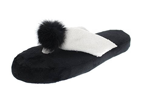 Pom Flop amp; amp; Women's Slipper Plush Flip Pom Virtue White Black Violet wFUq0nXU