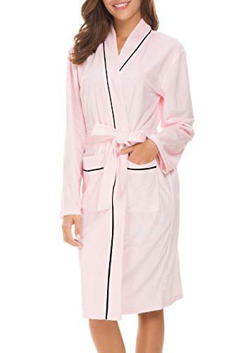 Invug Women Kimono Bathrobe Soft Flannel Sleepwear Fleece Spa Robes with Pockets Pink S