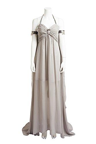 Daenerys Targaryen Costume for Women, Halloween Dragon Queen Cosplay Dress Off-White (Medium) ()