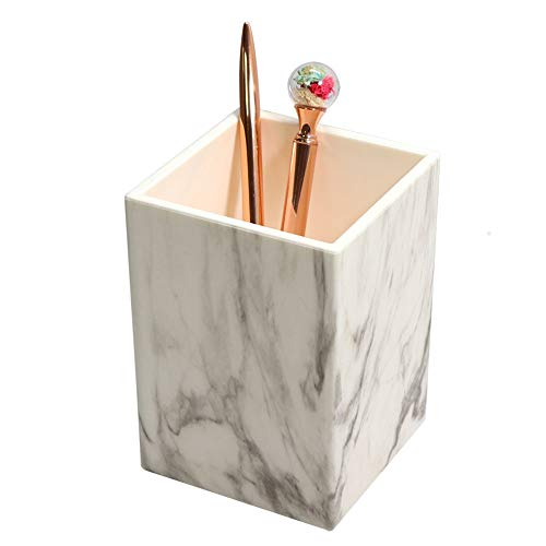 MultiBey Marble Texture Pen Holder Pencil Cup Pot Makeup Toothbrush Vase Holder for Desk Office Pens Organizer White (Marble White, 3