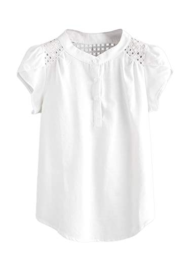 SheIn Women's Short Sleeve Eyelet Curved Hem Button Work Blouse Top Henley Shirt Small White