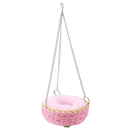 Hamster Beds, Round Raffia Hammock with Warm Soft Cushion for Cat Hamster Squirrel Totoro Rabbit Small Animals Sleeping Rest Place