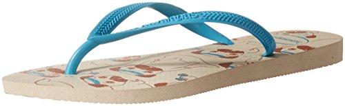Havaianas Women's Slim Pets Sandal, Beige/Blue 35/36 BR (6 M US) (Sandals Flop Flip Slim)