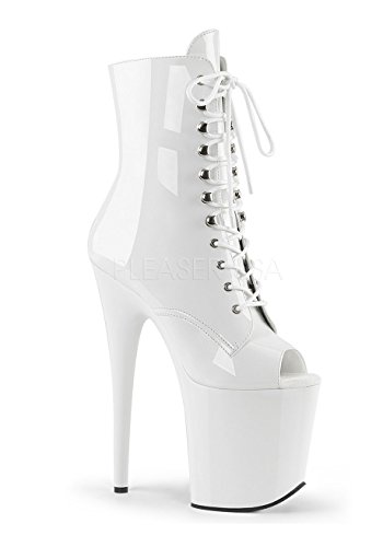 White Pleaser Boots (Pleaser Women's Flam1021/w/m Ankle Bootie, Patent/White, 9 M)