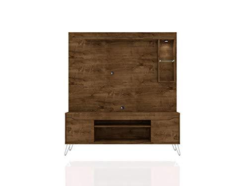 Manhattan Comfort 219BMC Baxter Modern 7 Shelves Free Standing Entertainment Center with Round LED Light, 62.99