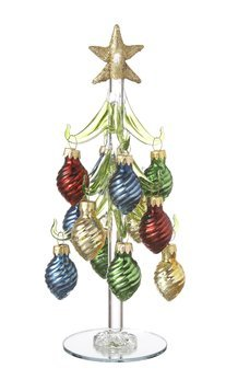 ganz miniature 8 blown glass christmas trees with ornaments ex29352 lights