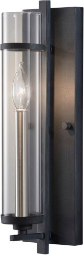 "Feiss WB1560AF/BS Ethan Glass Wall Sconce Candle Lighting, Iron, 1-Light (5""W x 17""H) 60watts from Feiss"
