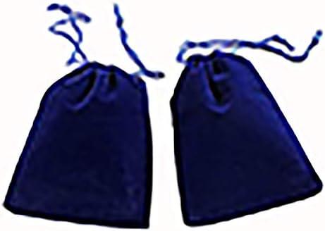 Velvet Drawstring Bag Blue