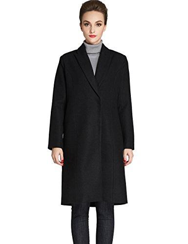 Camii Mia Women's Classic Winter Lapel Long Wool Blend Overcoat (Small, Black)