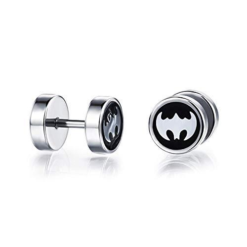 YuRocker Punk Stainless Steel Bat Wings Batman Fashion Men's Earrings Stud Silver Black (Batman Earrings For Men)