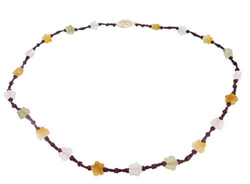 Carved Jade Pendant Genuine (Multi-Color Genuine Natural Jade Necklace Carved Flower Beads (#J4040))