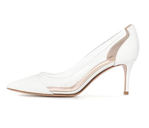 Sammitop Women's 6.5CM Mid Heel Pumps Cap Toe Wedding Shoes Bridesmaid Prom Pumps Patent White US11