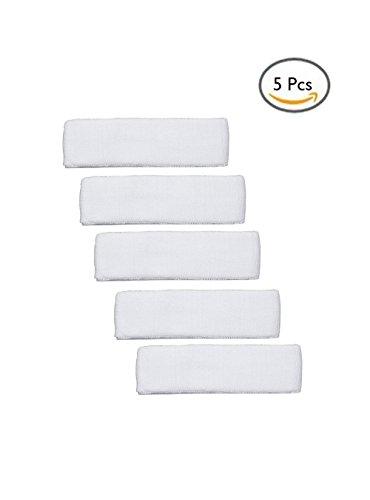 Colorido algodón diadema elástico banda cabeza banda de sudor para Yoga, Fitness y deporte uso, Blanco, 5Pcs
