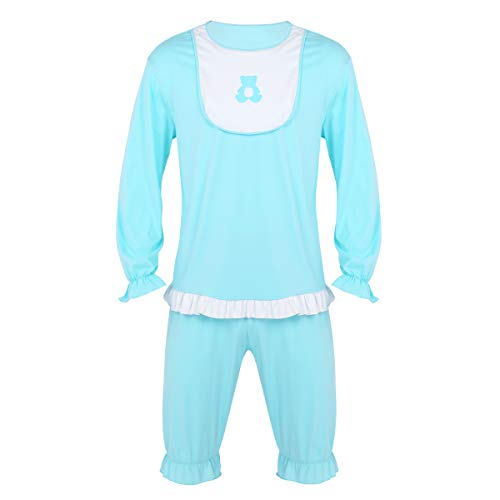 inlzdz Men's Adult Baby Bib Tops with Short Pants Pajamas Set Cosplay Fancy Dress Costume Outfits Light_Blue Medium ()