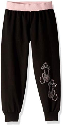 Jacques Moret Girls' Big Basic Dance Pant, Black/Pink ballet-01902, Small