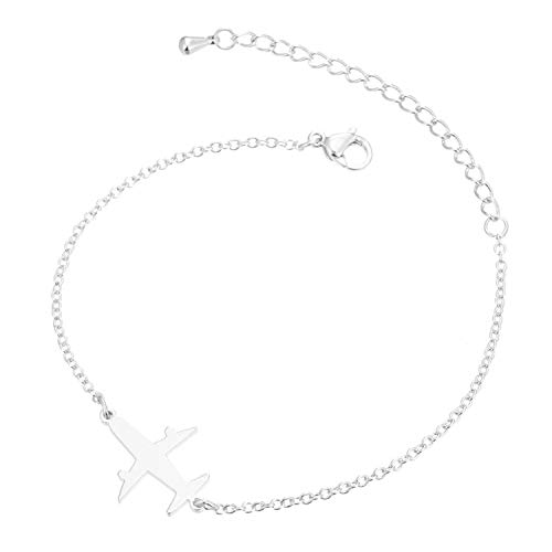 Stainless Steel Airplane Bracelet Silver Men Women Punk Airplane Charm Bracelets Bangles -