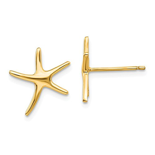 14k Yellow Gold Starfish Post Stud Earrings Ball Button Animal Sea Life Fine Jewelry Gifts For Women For Her
